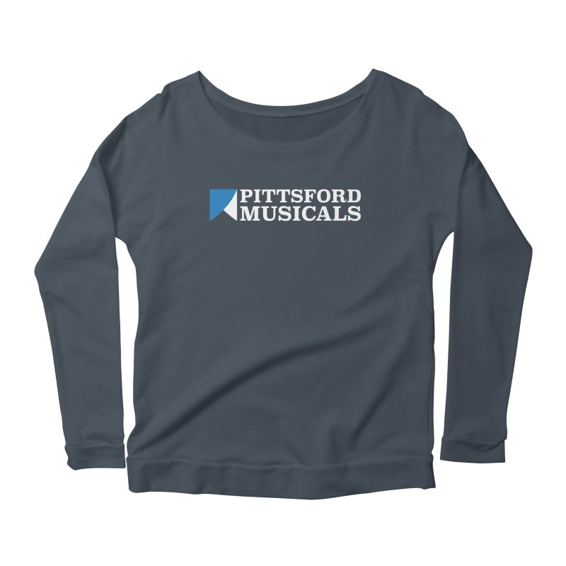 PM Logo In White Women's Scoop Neck Longsleeve T-Shirt by Pittsford Musicals