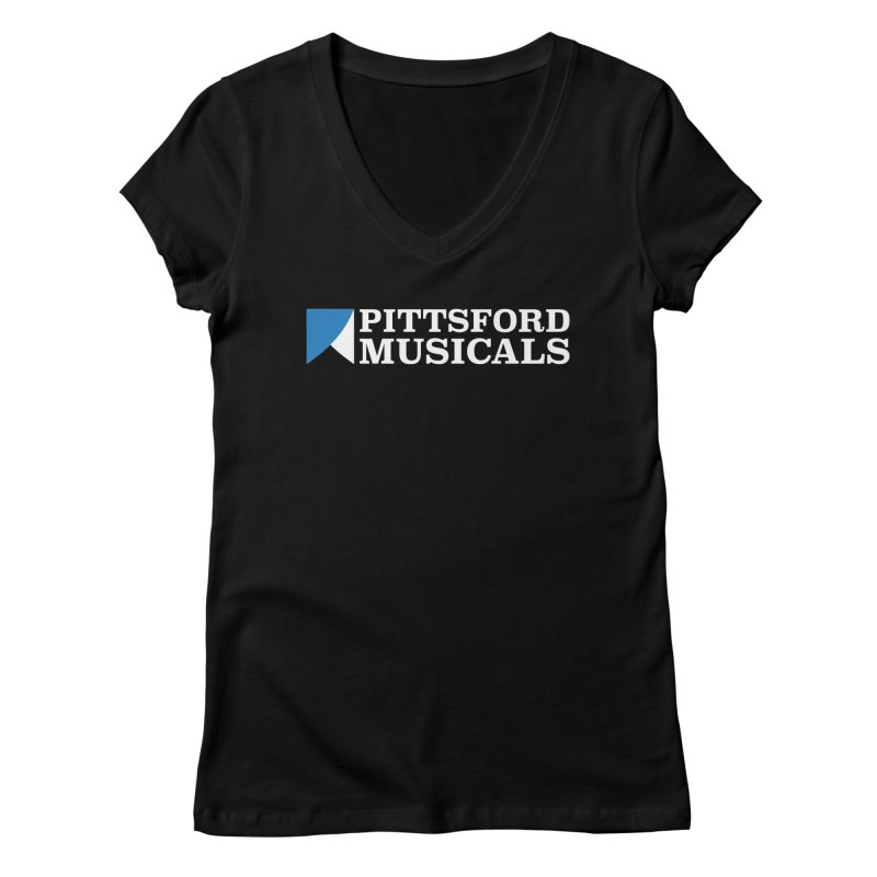 PM Logo In White Women's Regular V-Neck by Pittsford Musicals