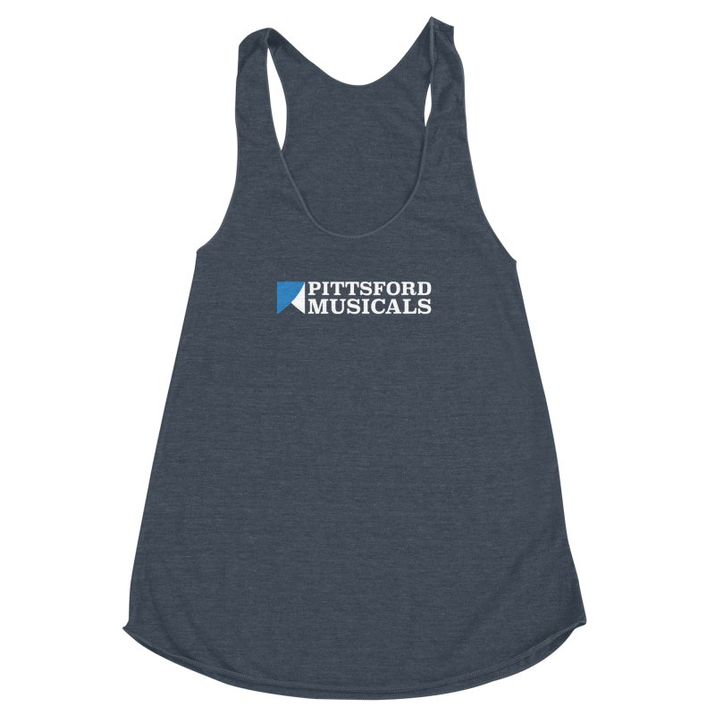 PM Logo In White Women's Racerback Triblend Tank by Pittsford Musicals