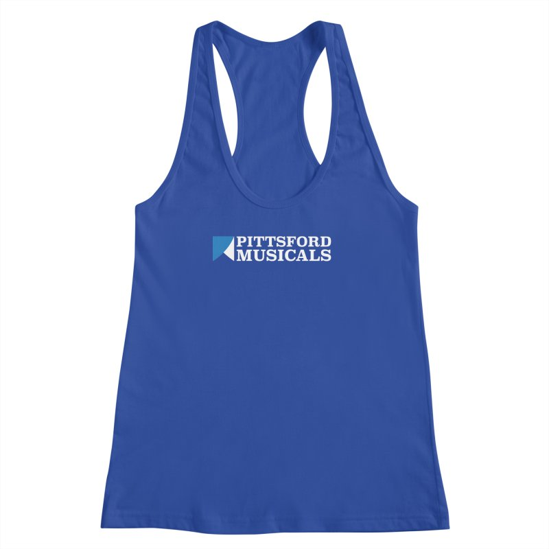 PM Logo In White Women's Racerback Tank by Pittsford Musicals