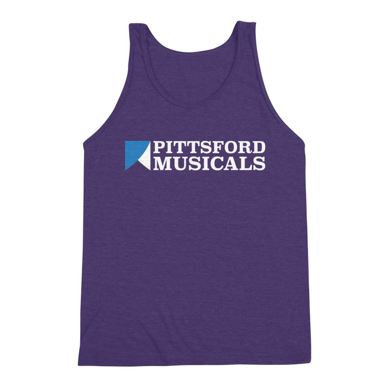 PM Logo In White Men's Triblend Tank by Pittsford Musicals