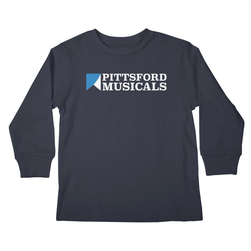 PM Logo In White Kids Longsleeve T-Shirt by Pittsford Musicals