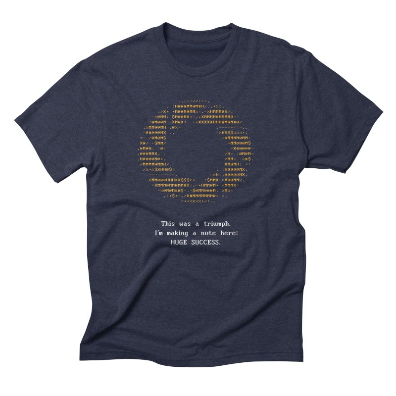 Aperture - Huge Success ASCII art - for dark fabric Men's Triblend T-Shirt by Pixel and Poly's Artist Shop