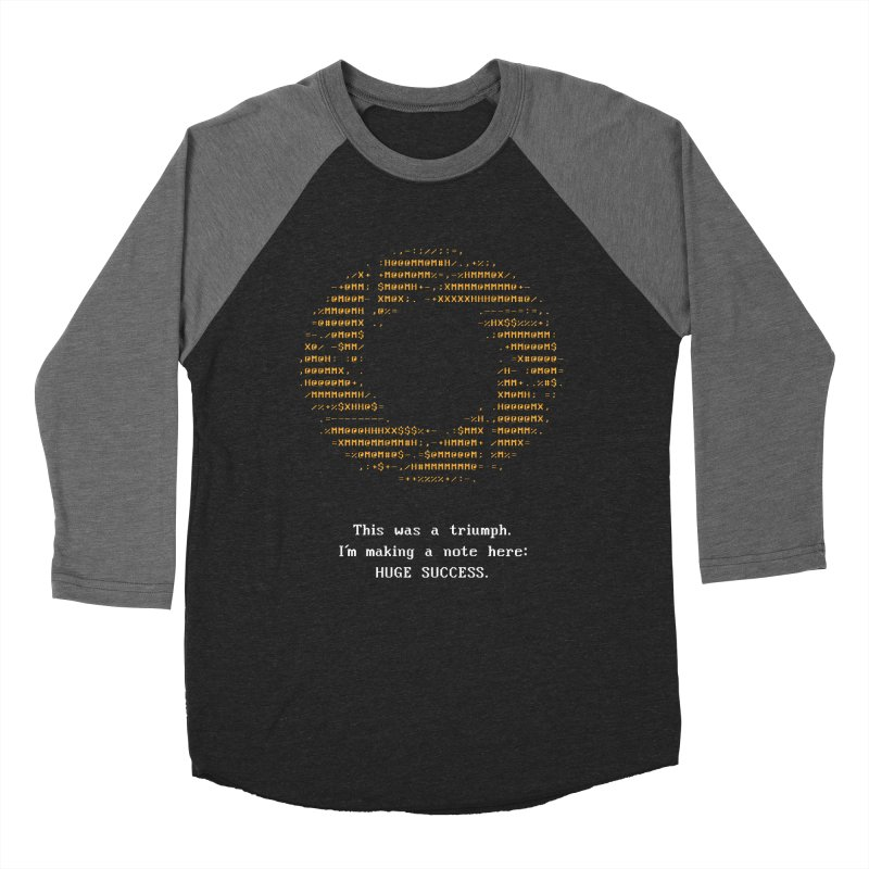 Aperture - Huge Success ASCII art - for dark fabric Women's Baseball Triblend Longsleeve T-Shirt by Pixel and Poly's Artist Shop
