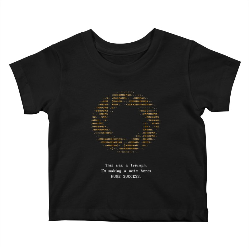 Aperture - Huge Success ASCII art - for dark fabric Kids Baby T-Shirt by Pixel and Poly's Artist Shop