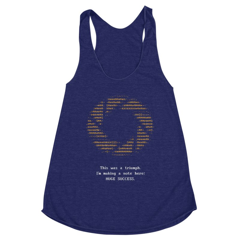 Aperture - Huge Success ASCII art - for dark fabric Women's Racerback Triblend Tank by Pixel and Poly's Artist Shop