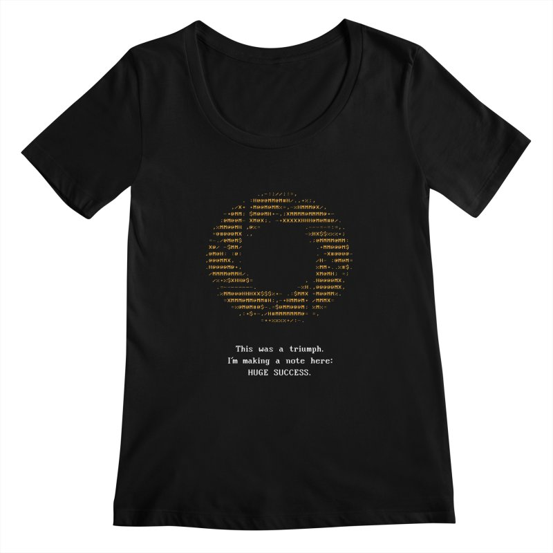 Aperture - Huge Success ASCII art - for dark fabric Women's Scoopneck by Pixel and Poly's Artist Shop
