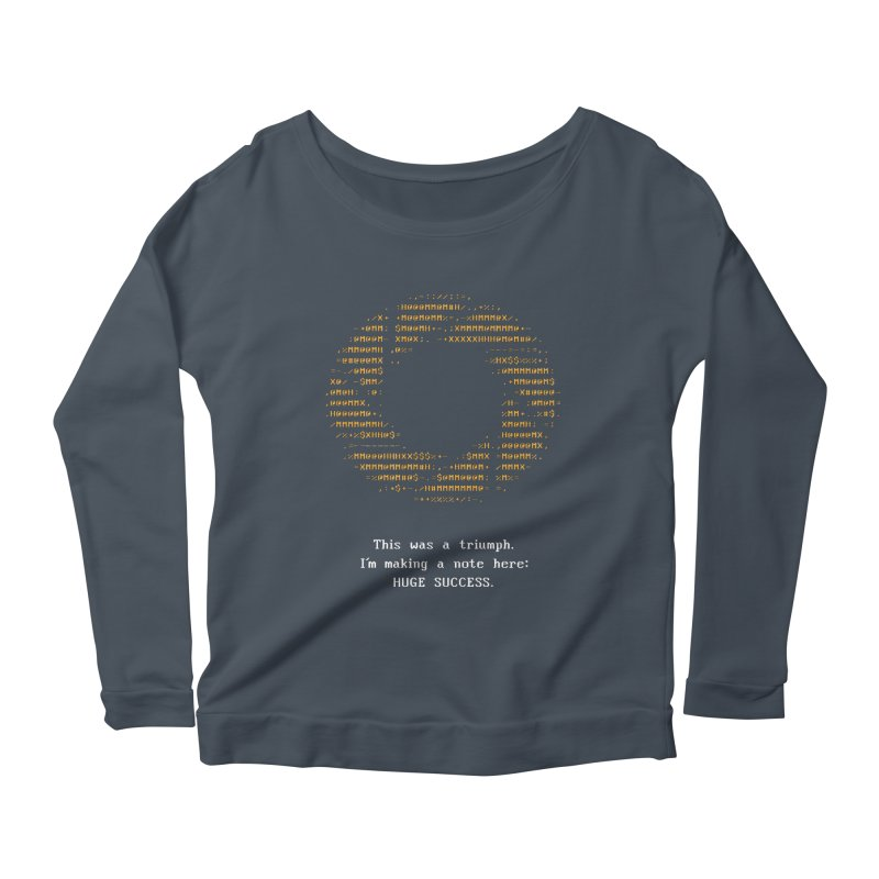 Aperture - Huge Success ASCII art - for dark fabric Women's Scoop Neck Longsleeve T-Shirt by Pixel and Poly's Artist Shop