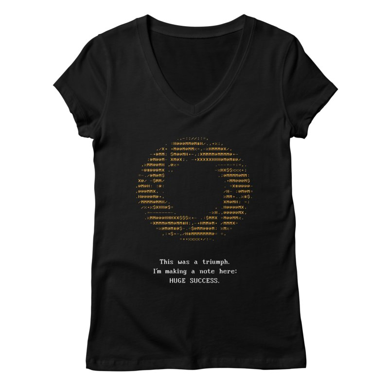Aperture - Huge Success ASCII art - for dark fabric Women's V-Neck by Pixel and Poly's Artist Shop