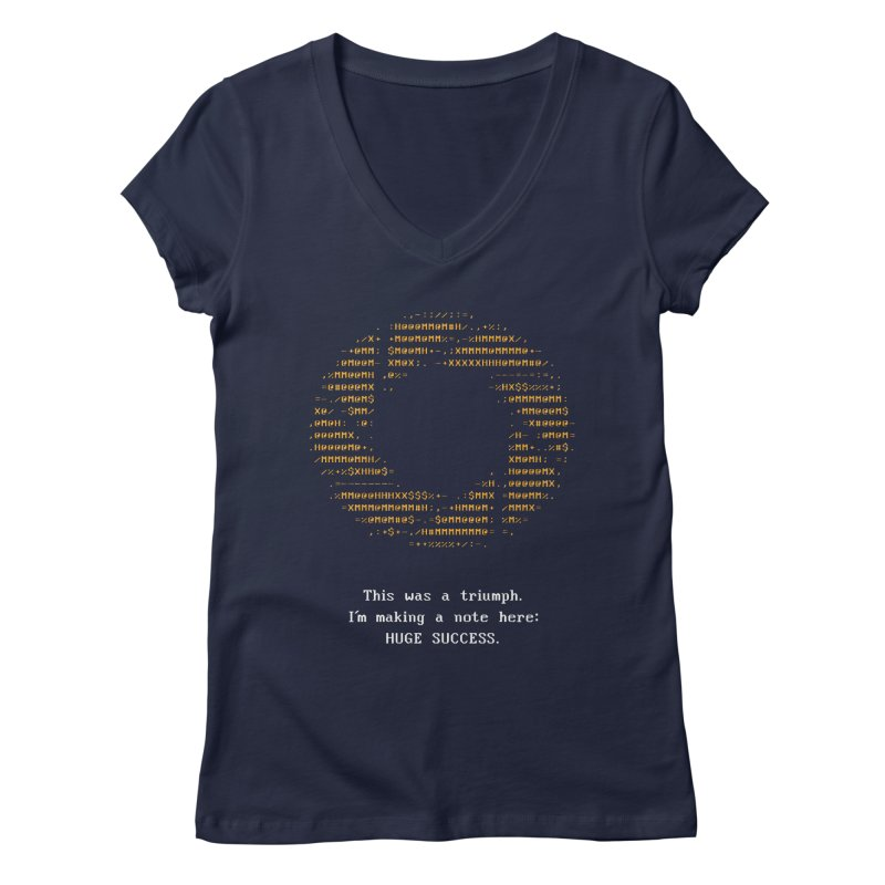 Aperture - Huge Success ASCII art - for dark fabric Women's Regular V-Neck by Pixel and Poly's Artist Shop