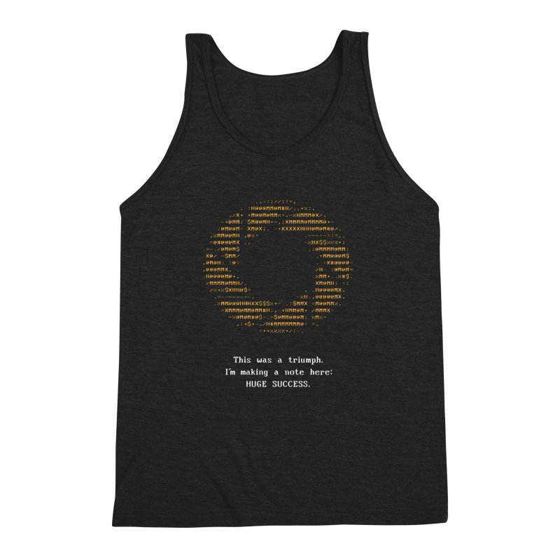 Aperture - Huge Success ASCII art - for dark fabric Men's Triblend Tank by Pixel and Poly's Artist Shop