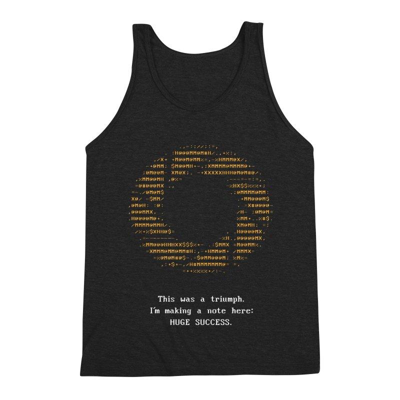 Aperture - Huge Success ASCII art - for dark fabric Men's Triblend Tank by Pixel and Poly's Artist Shop