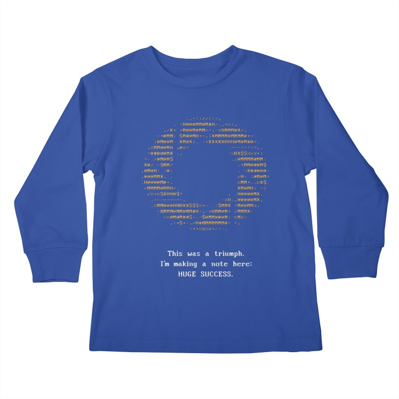 Aperture - Huge Success ASCII art - for dark fabric Kids Longsleeve T-Shirt by Pixel and Poly's Artist Shop