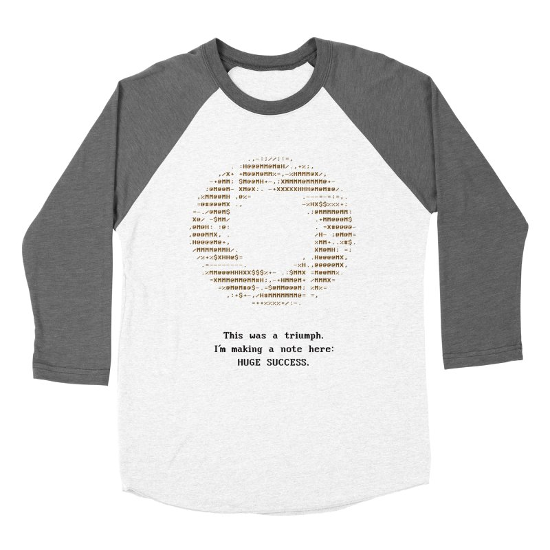 Aperture - Huge Success ASCII art - for light fabric Men's Baseball Triblend Longsleeve T-Shirt by Pixel and Poly's Artist Shop