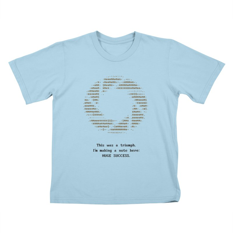 Aperture - Huge Success ASCII art - for light fabric Kids T-shirt by Pixel and Poly's Artist Shop