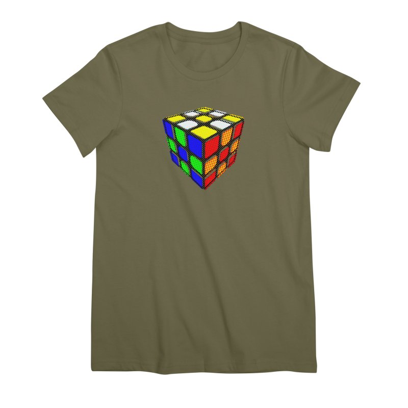 Speedcube - halftone design Women's Premium T-Shirt by Pixel and Poly's Artist Shop