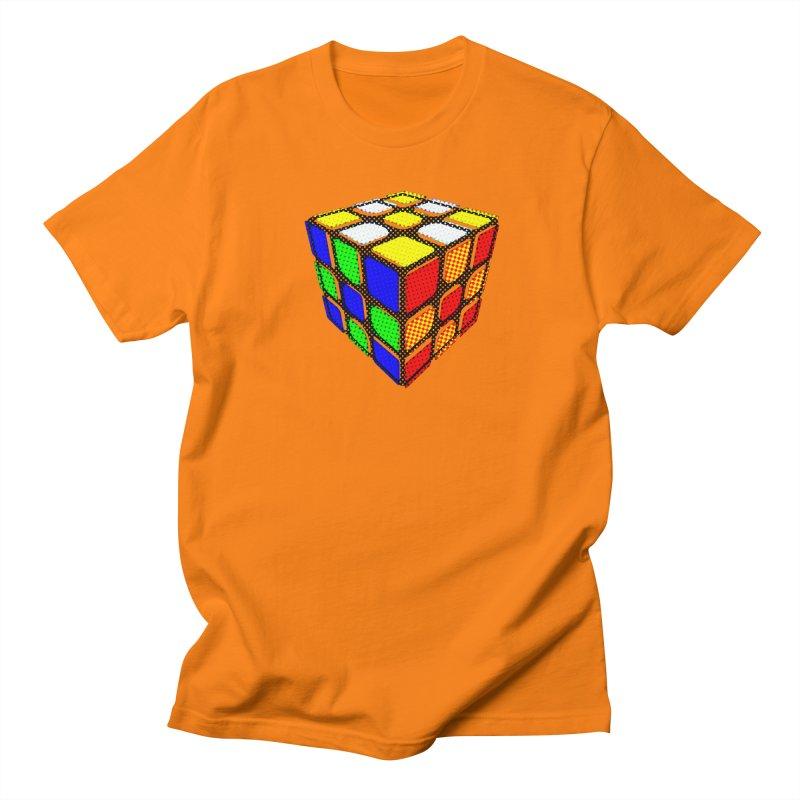 Speedcube - halftone design in Men's Regular T-Shirt Orange by Pixel and Poly's Artist Shop