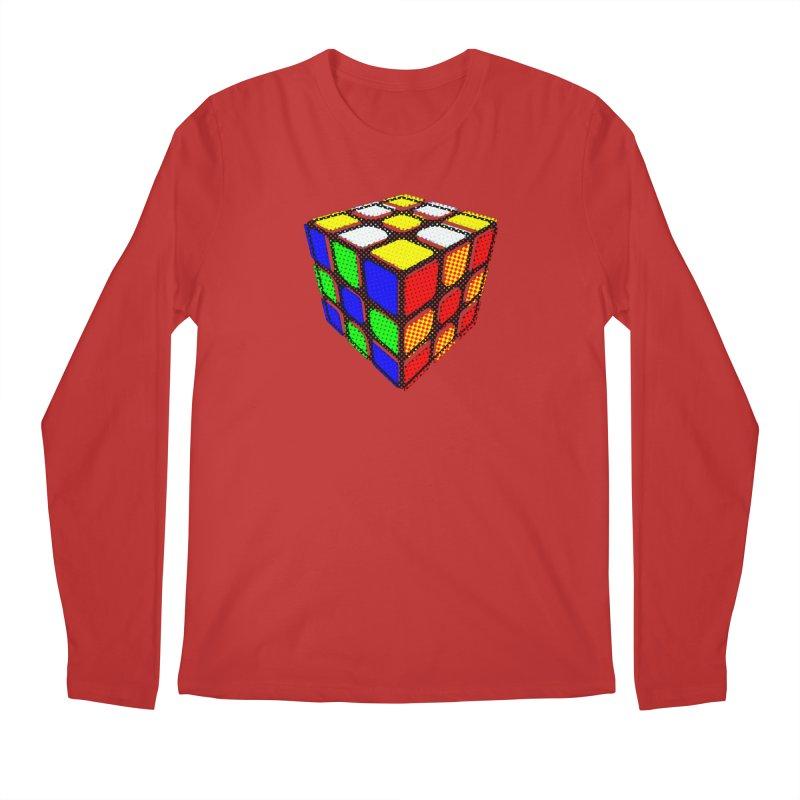 Speedcube - halftone design Men's Regular Longsleeve T-Shirt by Pixel and Poly's Artist Shop