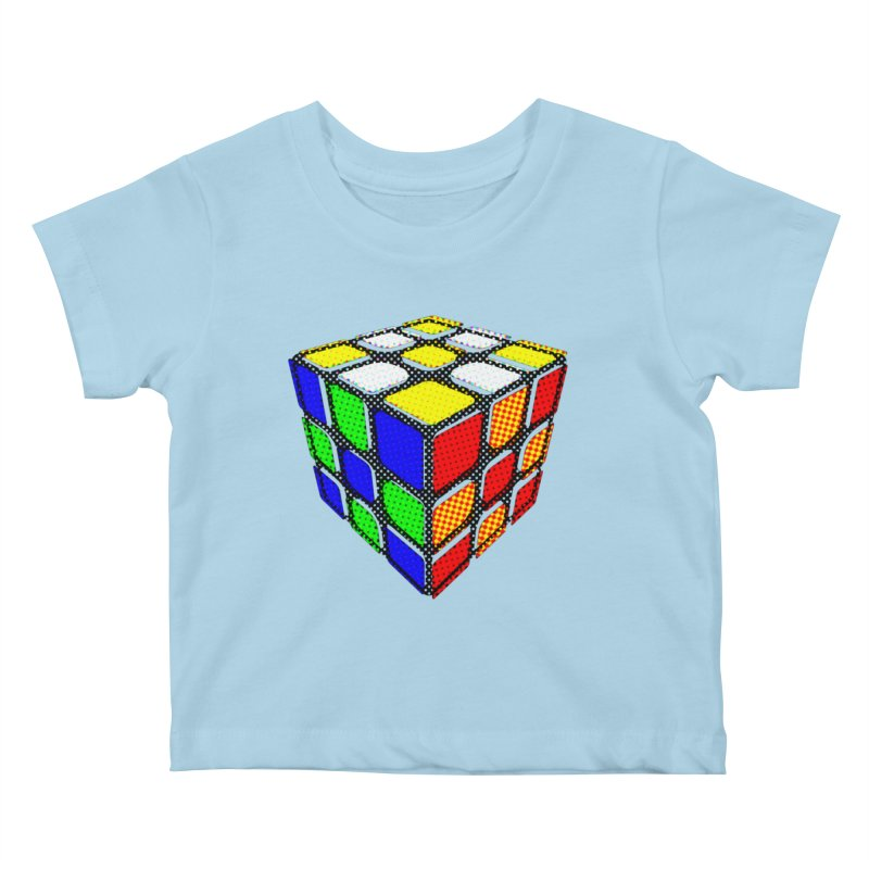 Speedcube - halftone design Kids Baby T-Shirt by Pixel and Poly's Artist Shop