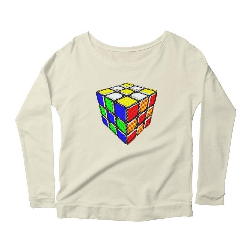 Speedcube - halftone design Women's Scoop Neck Longsleeve T-Shirt by Pixel and Poly's Artist Shop