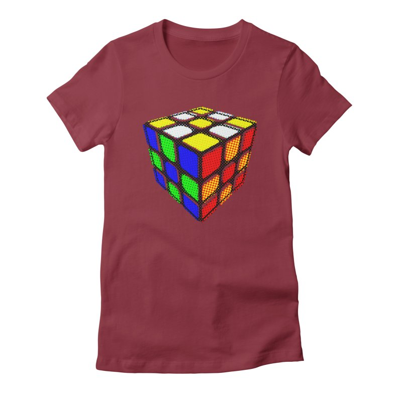 Speedcube - halftone design Women's Fitted T-Shirt by Pixel and Poly's Artist Shop