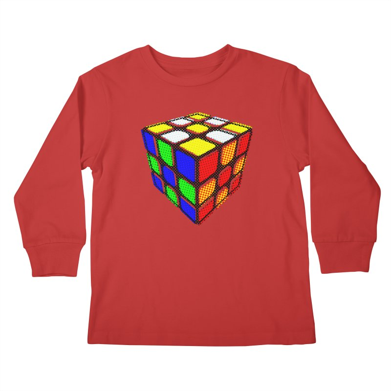 Speedcube - halftone design Kids Longsleeve T-Shirt by Pixel and Poly's Artist Shop