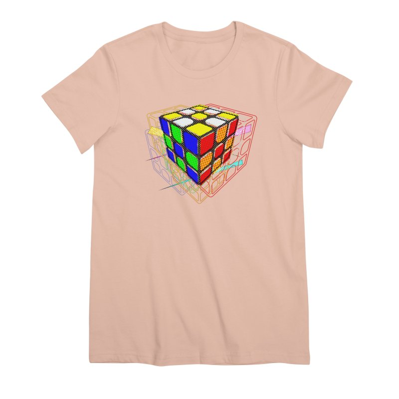 Speedcube - halftone glitch design Women's Premium T-Shirt by Pixel and Poly's Artist Shop