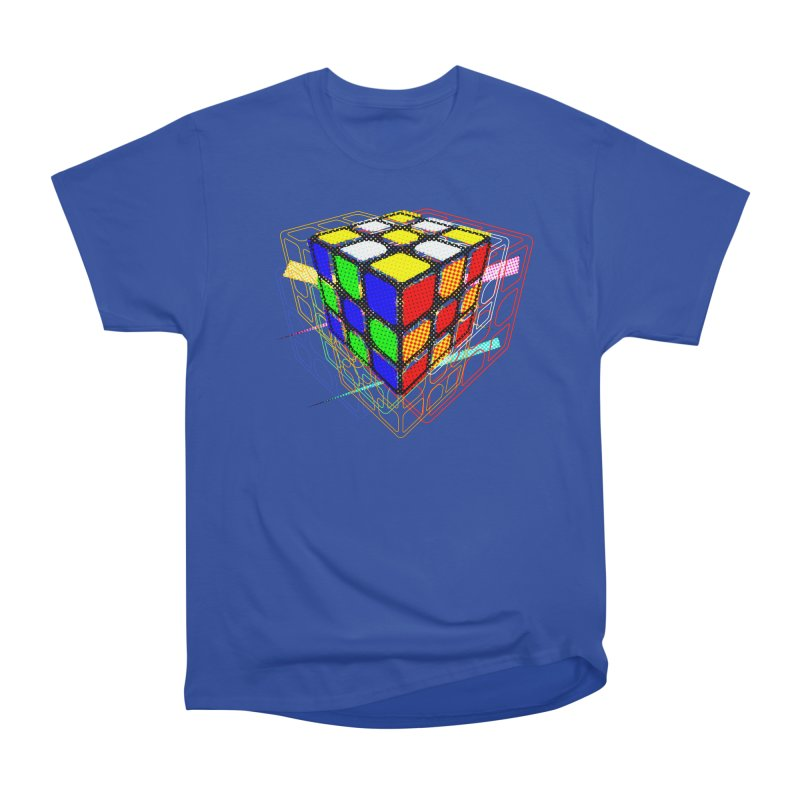 Speedcube - halftone glitch design Men's Heavyweight T-Shirt by Pixel and Poly's Artist Shop