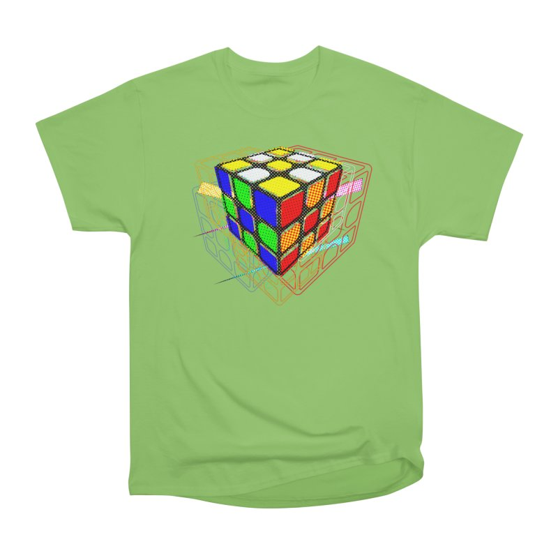Speedcube - halftone glitch design Men's Heavyweight T-Shirt by Pixel and Poly's Artist Shop