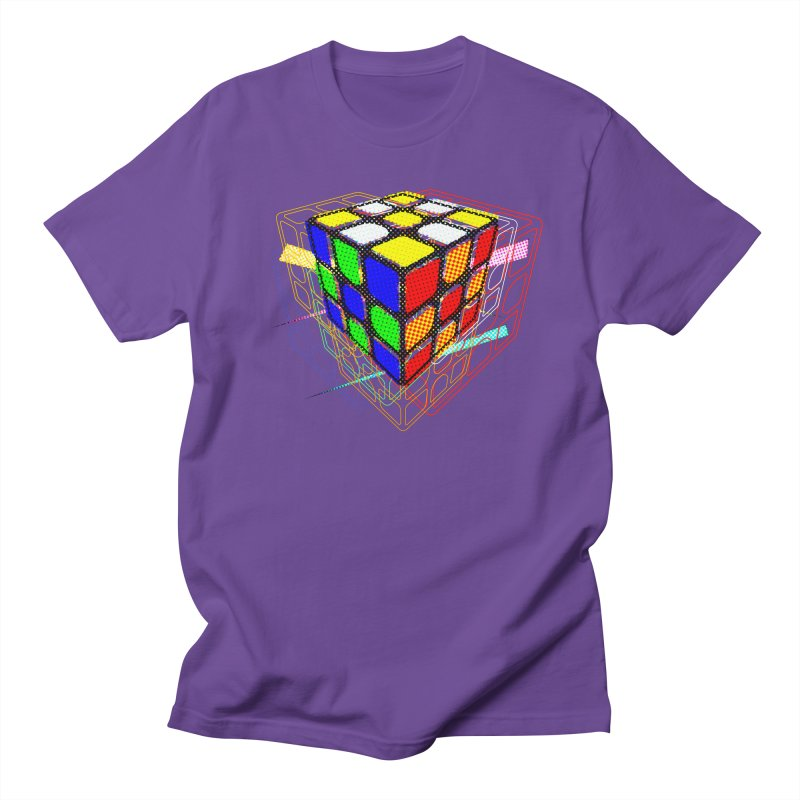 Speedcube - halftone glitch design in Men's Regular T-Shirt Purple by Pixel and Poly's Artist Shop