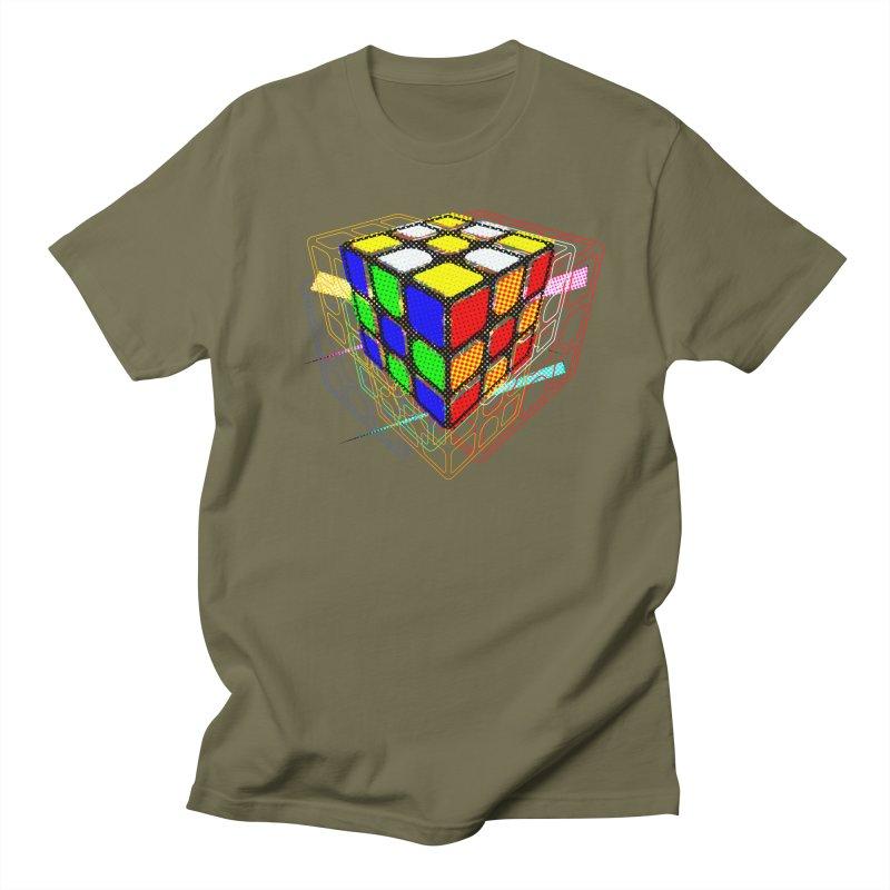 Speedcube - halftone glitch design Men's Regular T-Shirt by Pixel and Poly's Artist Shop