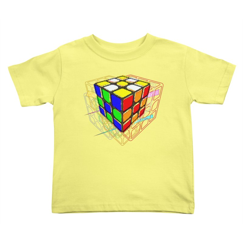 Speedcube - halftone glitch design Kids Toddler T-Shirt by Pixel and Poly's Artist Shop