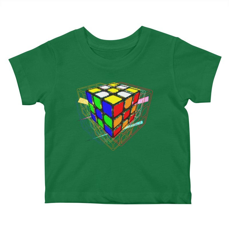 Speedcube - halftone glitch design Kids Baby T-Shirt by Pixel and Poly's Artist Shop