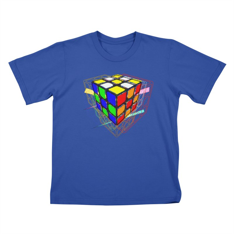 Speedcube - halftone glitch design Kids T-Shirt by Pixel and Poly's Artist Shop