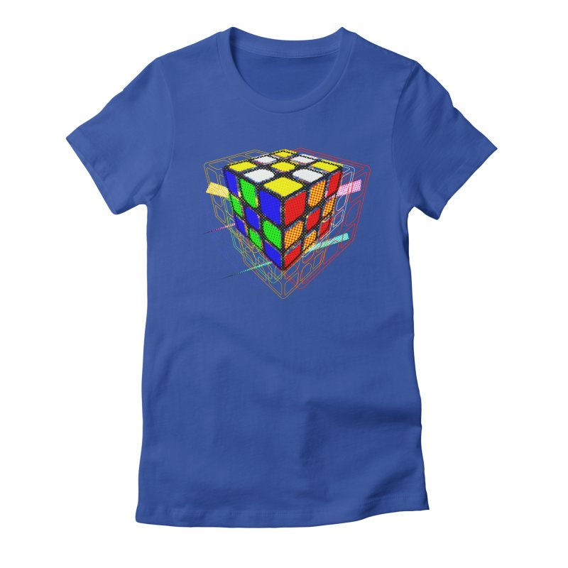 Speedcube - halftone glitch design Women's Fitted T-Shirt by Pixel and Poly's Artist Shop