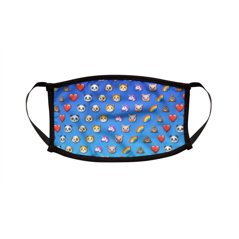 Emoji Animals Blue Accessories Face Mask by Pixel and Poly's Artist Shop