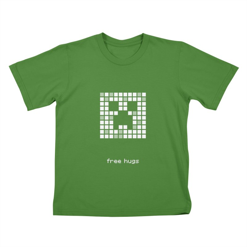 Minecraft - Creeper shirt design - free hugs Kids T-Shirt by Pixel and Poly's Artist Shop