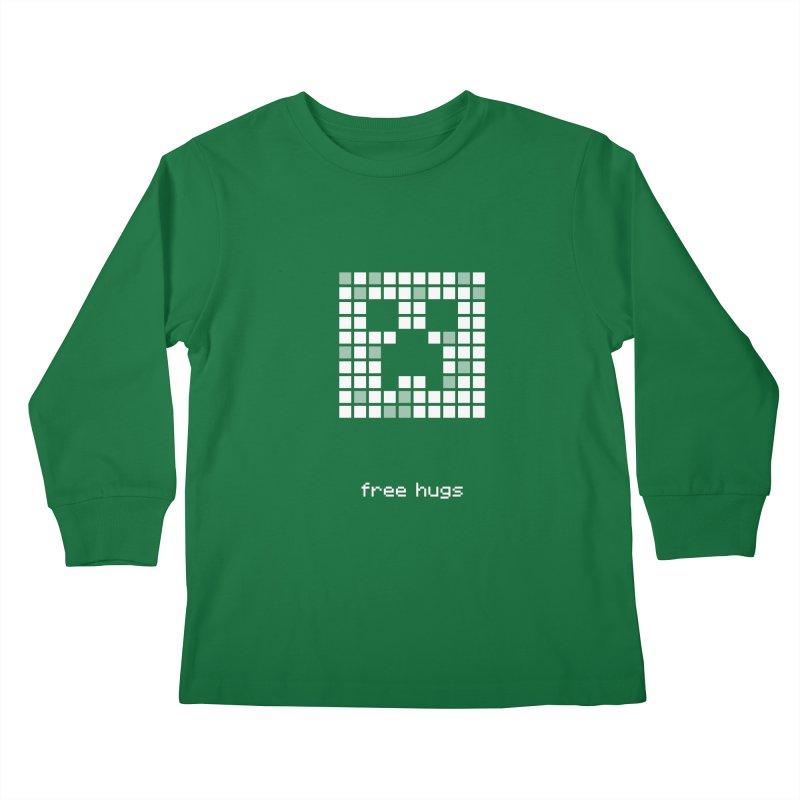 Minecraft - Creeper shirt design - free hugs Kids Longsleeve T-Shirt by Pixel and Poly's Artist Shop
