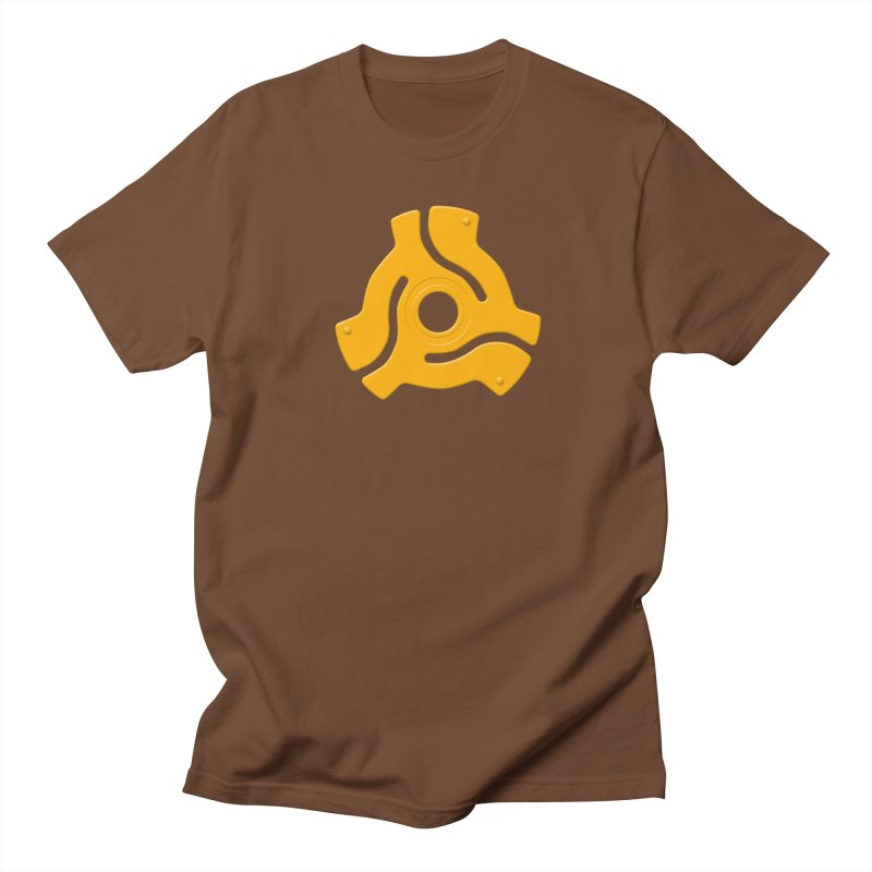 45 Record Adapter - yellow/orange in Men's Regular T-Shirt Brown by Pixel and Poly's Artist Shop