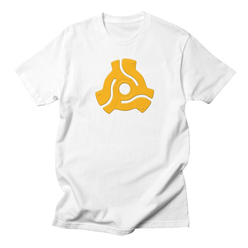 45 Record Adapter - yellow/orange Men's Regular T-Shirt by Pixel and Poly's Artist Shop