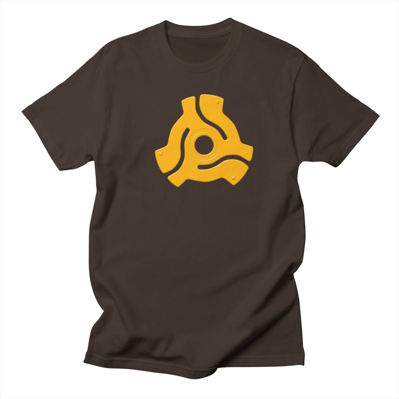 45 Record Adapter - yellow/orange Men's T-Shirt by Pixel and Poly's Artist Shop
