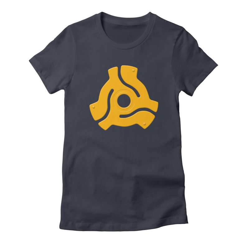 45 Record Adapter - yellow/orange Women's Fitted T-Shirt by Pixel and Poly's Artist Shop