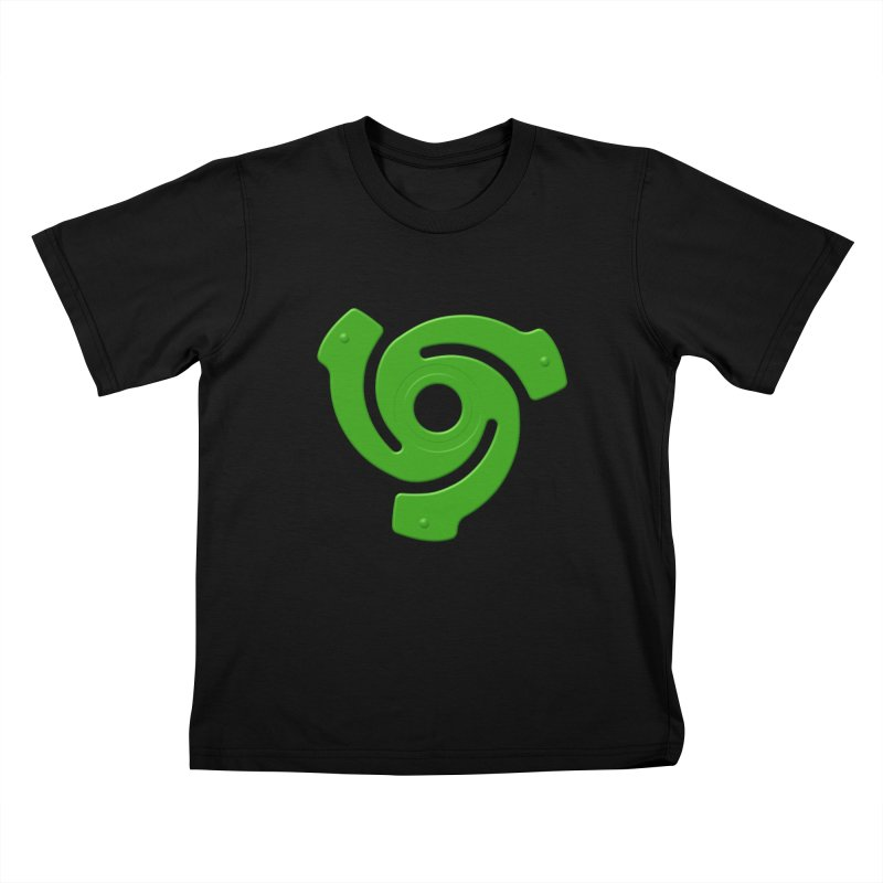 45 Record Adapter v2 - green Kids T-Shirt by Pixel and Poly's Artist Shop