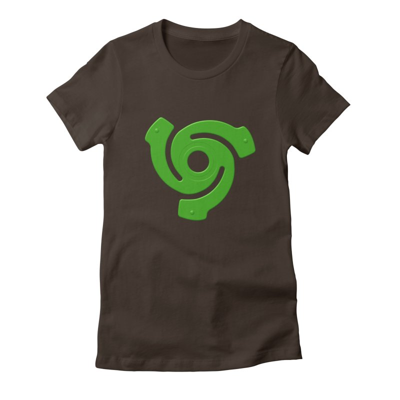 45 Record Adapter v2 - green Women's Fitted T-Shirt by Pixel and Poly's Artist Shop