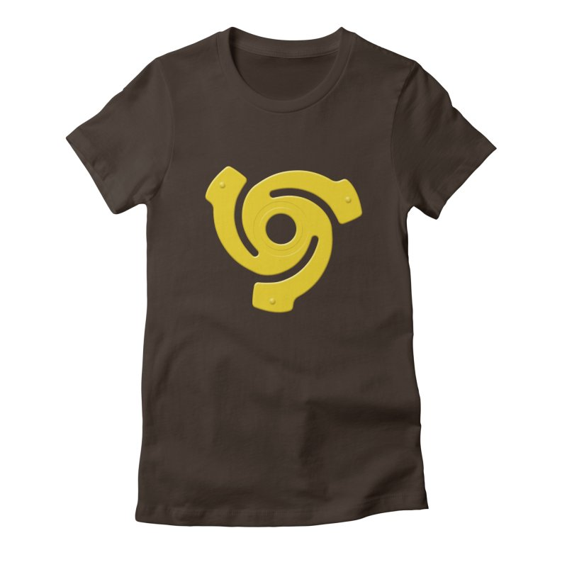 45 Record Adapter v2 in yellow Women's Fitted T-Shirt by Pixel and Poly's Artist Shop