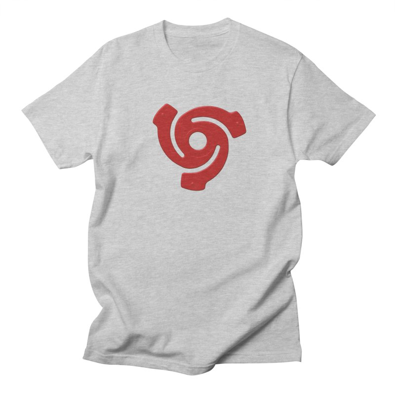 45 Record Adapter v2 in Red Men's Regular T-Shirt by Pixel and Poly's Artist Shop
