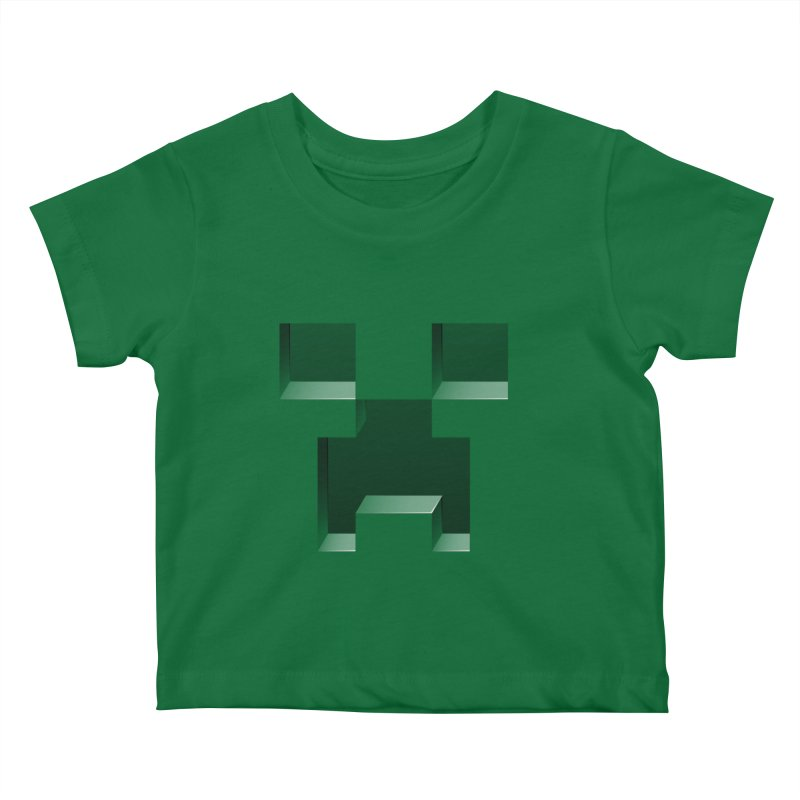 Creeper - negative cut out design Kids Baby T-Shirt by Pixel and Poly's Artist Shop