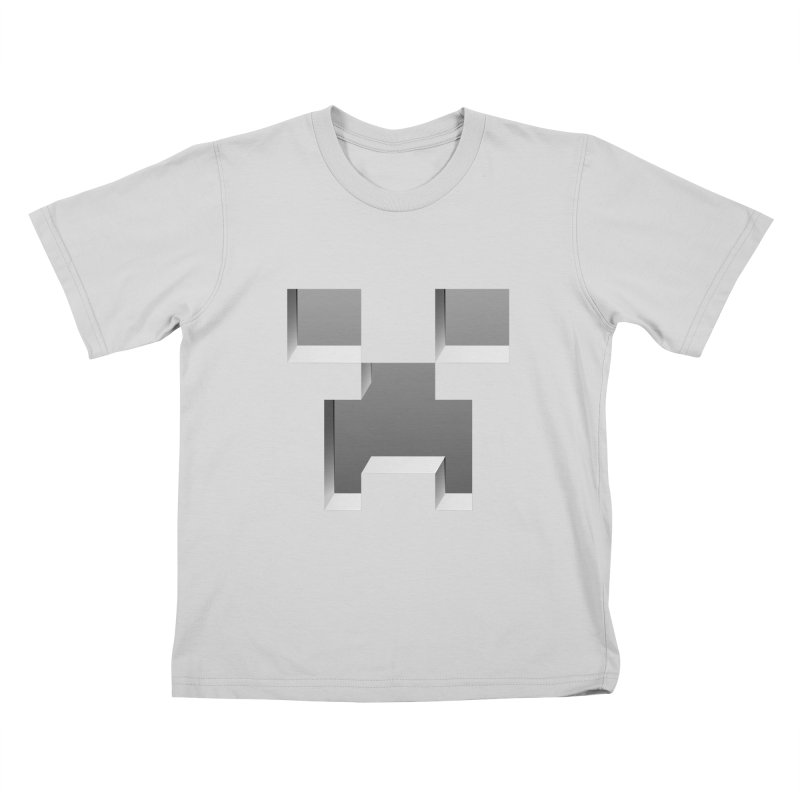 Creeper - negative cut out design Kids T-Shirt by Pixel and Poly's Artist Shop