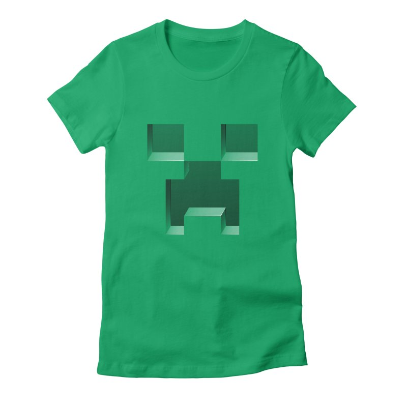 Creeper - negative cut out design Women's Fitted T-Shirt by Pixel and Poly's Artist Shop