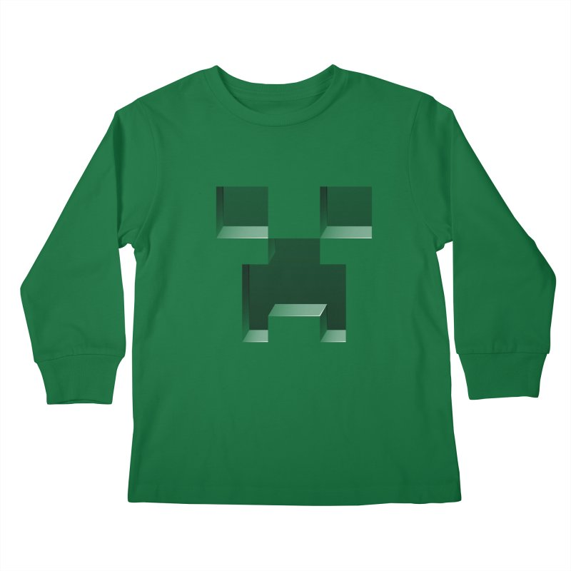 Creeper - negative cut out design Kids Longsleeve T-Shirt by Pixel and Poly's Artist Shop